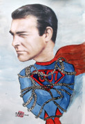 Superman Mixed Media Prints - James Bondage Print by Arlene  Wright-Correll
