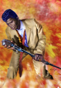 Soul Singer Posters - James Brown and His Famous Flames Poster by Reggie Duffie