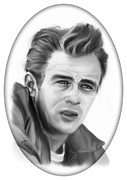 Warner Park Drawings Metal Prints - James Dean Metal Print by Erwin Verhoeven