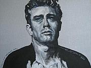 Elvis Portrait Paintings - James Dean one by Eric Dee