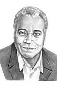 Famous People Drawings - James Earl Jones by Murphy Elliott