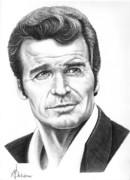 Famous People Drawings - James Garner by Murphy Elliott