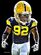Football Digital Art Acrylic Prints - James Harrison Acrylic Print by Stephen Younts