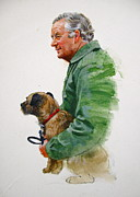 Painted Mixed Media - James Herriot And Bodie by Cliff Spohn