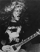 Rock N Roll Drawings Posters - James Hetfield Pencil 1987 Poster by Brian Carlton