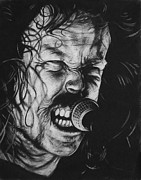 Band Drawings Prints - James Hetfield Print by Steve Hunter