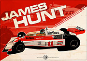 Hunt Digital Art Metal Prints - James Hunt - F1 1976 Metal Print by Evan DeCiren