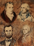Thomas Jefferson Painting Posters - James James Abe and Lincoln Poster by Debra Keirce