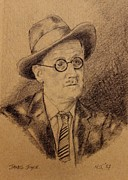 Books Drawings Framed Prints - James Joyce Framed Print by John  Nolan
