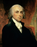 Male Portraits Framed Prints - James Madison Framed Print by American School