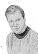 Spock Drawings Framed Prints - James Tiberius Kirk Framed Print by Thomas J Herring