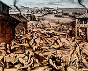 Colonial Man Framed Prints - Jamestown Massacre, 1622 Framed Print by Photo Researchers