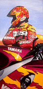 Motorcycle Racing Art Painting Framed Prints - Jamie James - Yamaha YZF Framed Print by Jeff Taylor