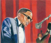 African American Man Drawings Prints - Jamie Ray Charles Print by Keith Burnette