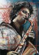 Saxophone Drawings - Jammin  by Molly Markow