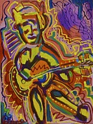 Acoustic Guitar Painting Originals - Jamming  by Isaac Rudansky