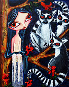 Multi Colored Paintings - Jane and the Lemurs by Leanne Wilkes