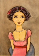 Cartoon Painting Metal Prints - Jane Austen Metal Print by Ramey Guerra