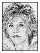Award Drawings Metal Prints - Jane Fonda in 2005 Metal Print by J McCombie