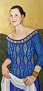 Blue Dress Paintings - Jane M after Klimt by Carla Nickerson