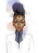 Hairstyle Digital Art Framed Prints - Janelle Monae Framed Print by Alex  Kok