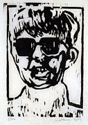 Wood Block Print Drawings - Janet M. by Richard Wetterer