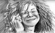 Janis Joplin Drawings - Janis Blues by Anne Thigpen