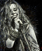 Rock N Roll Drawings Posters - Janis Joplin 1969 Poster by Elizabeth Coats