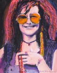 Pop Icon Drawings Posters - Janis Joplin 2 Poster by Eric Dee