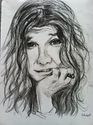 Icons Drawings Originals - Janis Joplin by Gerald Hubert