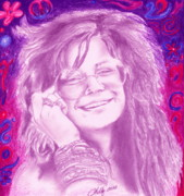 Colored Pencil Metal Prints - Janis Joplin Metal Print by Kathleen Kelly Thompson