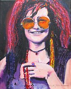 Janis Joplin Drawings - Janis Joplin Pink by Eric Dee