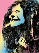 Robbi Musser Drawings Framed Prints - Janis Joplin Framed Print by Robbi  Musser