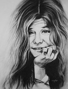 Charcoal Drawings - Janis Joplin by Steve Hunter
