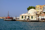 Mosque Photos - Janissaries Mosque and Caique in Chania by Paul Cowan