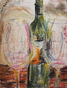 Red Wine Bottle Pastels Prints - January 7 Print by Hannah Curran