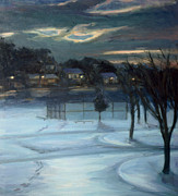 January Paintings - January Ball Field by Sarah Yuster