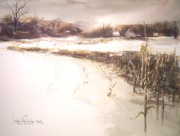 Snowscape Paintings - January by Douglas W Trowbridge NWS
