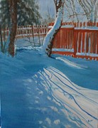 Winterscape Painting Originals - January In Moms Backyard by Ruby Lockett