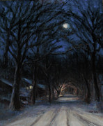 Snowy Night Prints - January Moon Print by Sarah Yuster