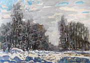 Russia Painting Originals - January near Moscow by Juliya Zhukova