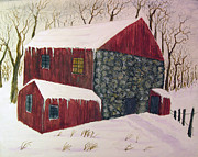 Old Barn Paintings - January Thaw by Forrest C Greenslade PhD