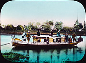 Slide Prints - Japan, A Houseboat, Hand Colored Print by Everett