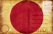 Postcard Art - Japan Flag Postcard by Setsiri Silapasuwanchai