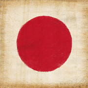 Stain Prints - Japan flag Print by Setsiri Silapasuwanchai