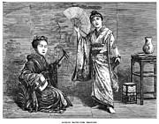 1874 Photo Metal Prints - Japan: Geisha Dance, 1874 Metal Print by Granger