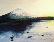 Sunset Greeting Cards Drawings Posters - Japan -Mt. Fuji   Poster by Yoshiko Mishina