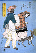 Japanese Dog Posters - Japan: Woman With Dog Poster by Granger