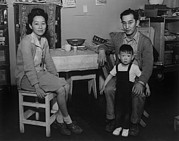 Emigration Photo Posters - Japanese American Family Interned Poster by Everett