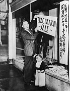 Candid Portraits Prints - Japanese-american Merchant Posts A Sale Print by Everett